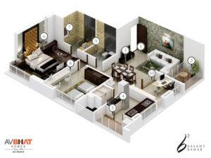 Basant Bahar Floor plan for 4 BHK